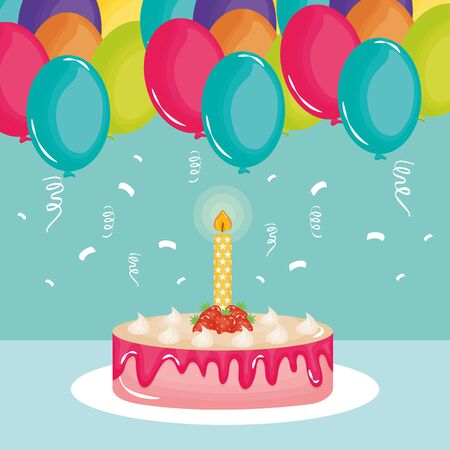 happy birthday card , sweet cake and candle with balloons helium vector design Ilustracja