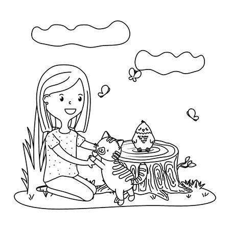 childhood happy child girl with cute little pet animal at outdoor scene cartoon vector illustration graphic design Illusztráció