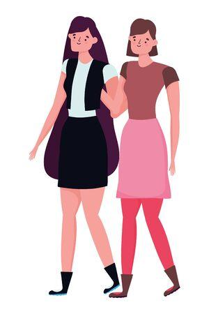 Avatar of a fashion women design, Girls females person human and beauty theme Vector illustration Illusztráció