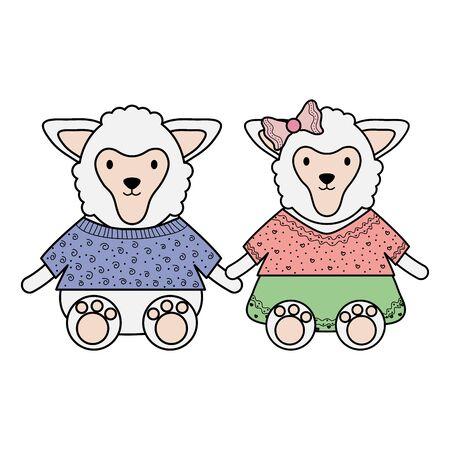 Cute sheep couple childish characters