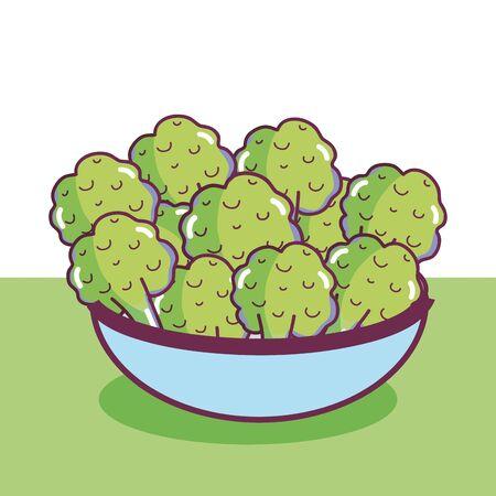 Vegetables in a bowl Иллюстрация