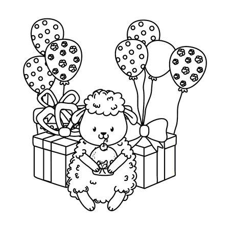 Cute adorable animal cartoon on white