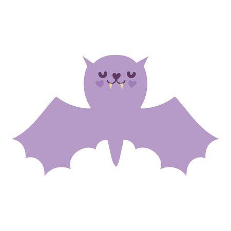 happy halloween celebration purple bat with open wings vector illustration