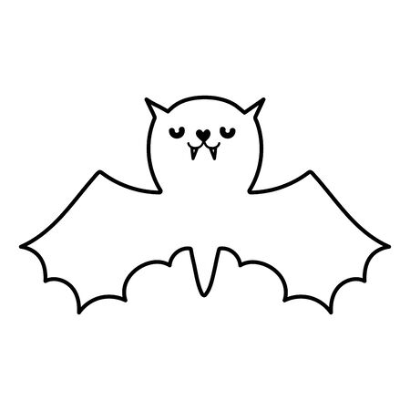 happy halloween celebration bat with open wings line style