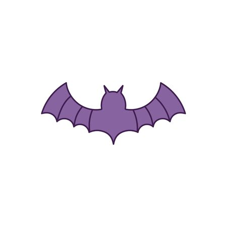 purple bat open wings on white background vector illustration