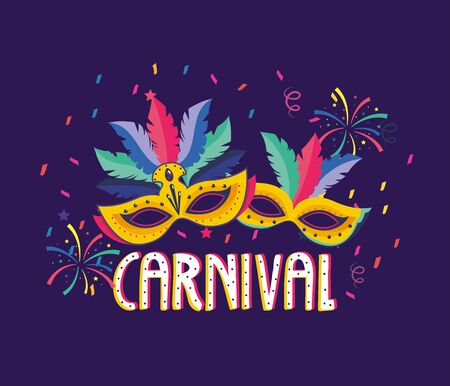 masks with feathers and fireworks to carnival party vector illustration