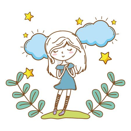 Cute girl cartoon stylish hairstyle nice outfit clothes blushing dress hopeful floral wreath clouds and stars background vector illustration graphic design 写真素材 - 132587021