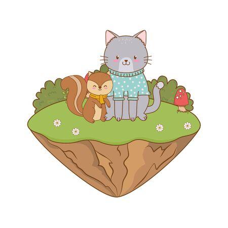cute chipmunk and cat in the landscape Ilustración de vector