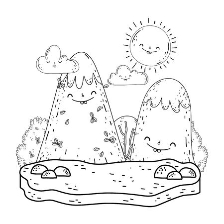 mountain snow and sun kawaii characters Zdjęcie Seryjne - 132609149
