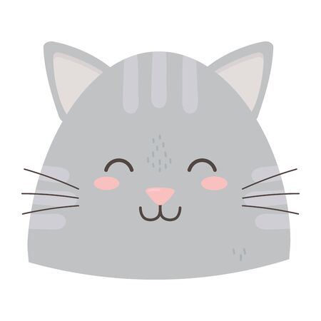 cute gray cat head close eyes vector illustration