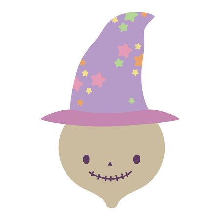 happy halloween celebration skeleton face with witch hat vector illustration