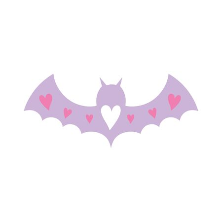 purple bat open wings with hearts love on white background vector illustration