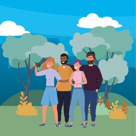 Millennial group using smartphone taking selfie redhead afro beanie beard nature trail trees bushes cityscape background vector illustration graphic design