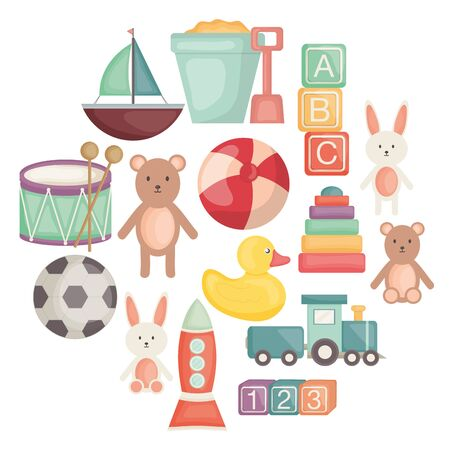 set of baby toys entertainemt icons vector illustration design