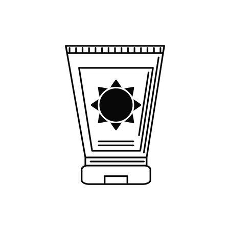 sun block tube illustration vacation travel icon line image design Illustration