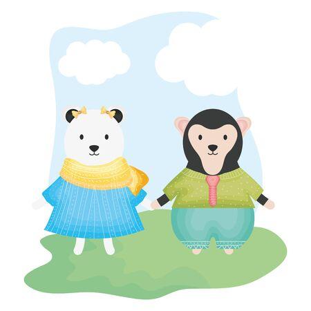 cute female polar bear and monkey Zdjęcie Seryjne - 132609560