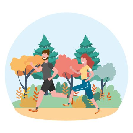 fitness sport train cartoon Ilustracja