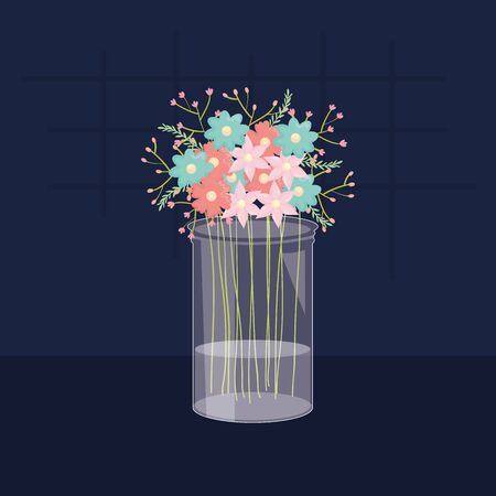mason jar glass with floral decoration