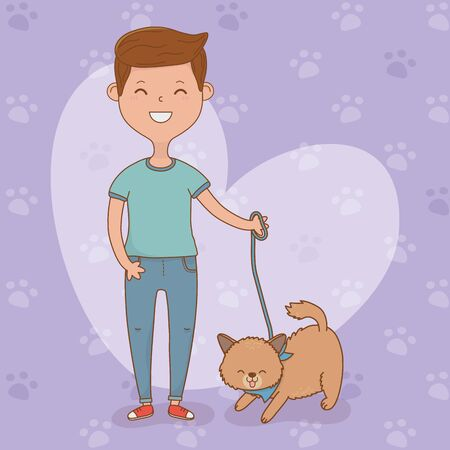 young man with cute dog mascot Vektorové ilustrace
