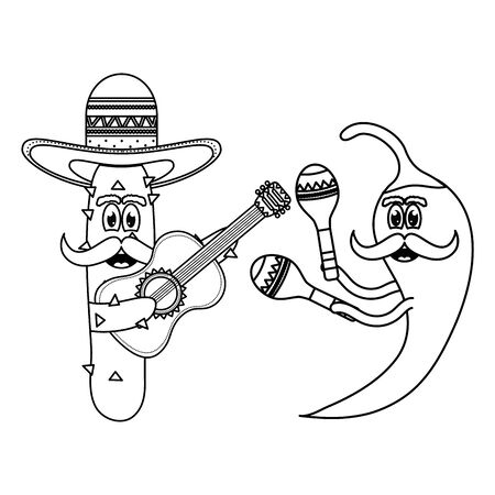 mexican cactus and chilli with hats and guitars comic characters
