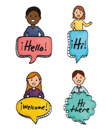 young people and speech bubbles with messages Çizim