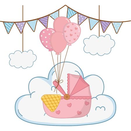 cradle with blanket and balloons decorated with stars and points over a cloud a pendants hanging vector illustration graphic design
