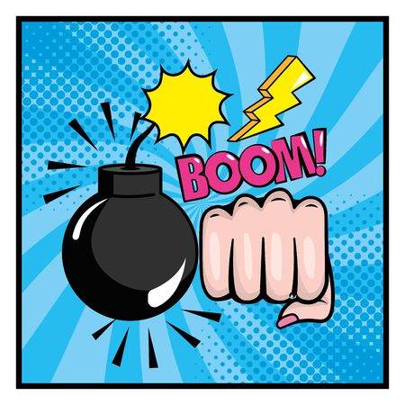 bomb with hand fist and pop art message design vector illustration  イラスト・ベクター素材