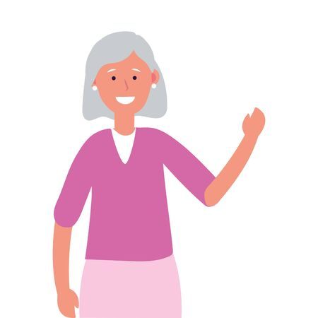 old woman avatar cartoon character isolated vector illustration graphic design 向量圖像