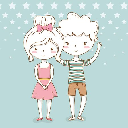 beautiful little kids couple with dotted background vector illustration design  イラスト・ベクター素材