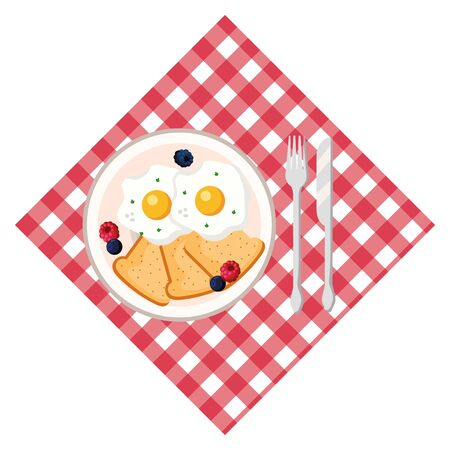 delicious tasty breakfast picnic concept cartoon vector illustration graphic design