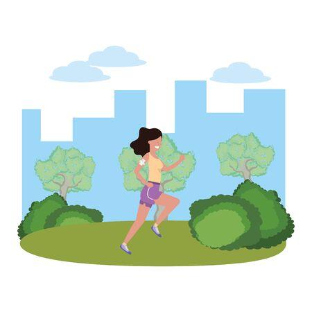 fitness sport train woman running outdoor scene cartoon vector illustration graphic design Ilustracja