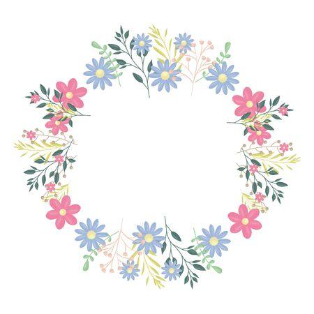 Couronne circulaire avec des fleurs et des feuilles de conception d'illustration vectorielle décoration Vecteurs