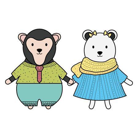cute female polar bear and monkey vector illustration design Zdjęcie Seryjne - 132610177