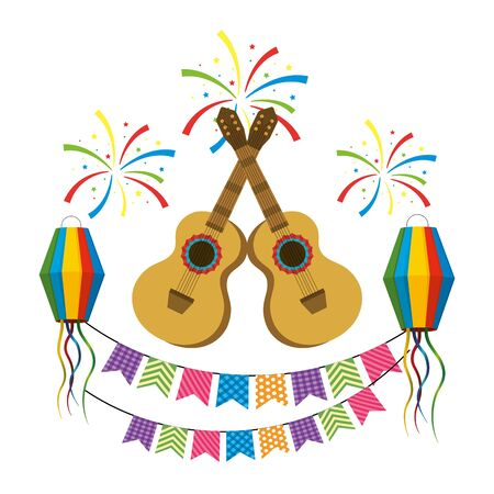 music instruments guitars festive celebration party scene cartoon vector illustration graphic design  イラスト・ベクター素材