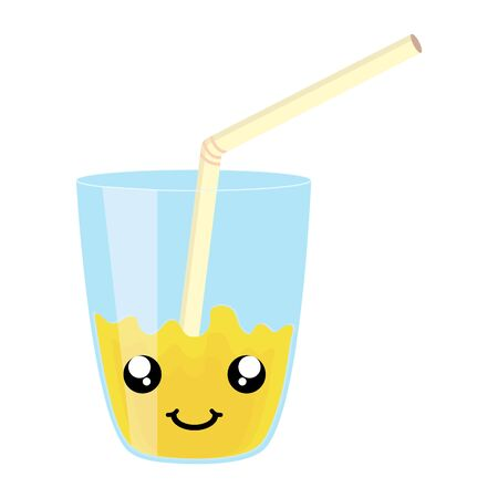 glass with juice fruit and straw kawaii character vector illustration design