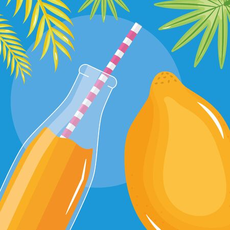 fresh papaya juice fruit in botttle with straw in leafs palms vector illustration