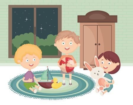 little kids group playing with toys in the room vector illustration design