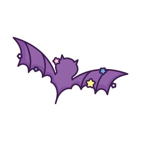 purple bat open wings stars on white background vector illustration