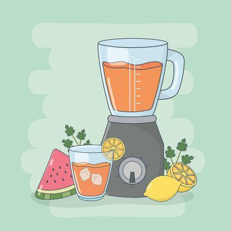 blender with fruits healthy preparation vector illustration design