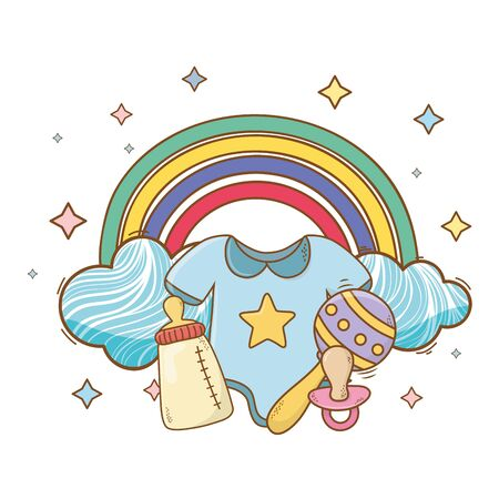 baby shower bodysuit, bottle, maraca and pacifier on rainbow, clouds and stars cartoon card isolated vector illustration graphic design