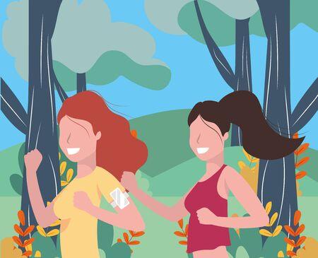 women running portrait with sportwear avatar cartoon character rural landscape vector illustration graphic design
