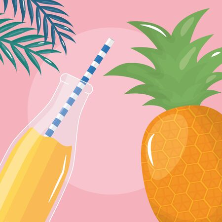 fresh pineapple juice fruit in botttle with straw in leafs palms vector illustration