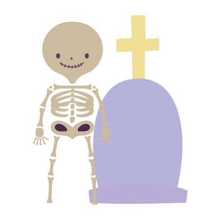Happy halloween celebration skeleton and tombstone with cross