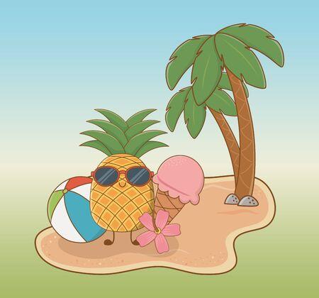 Caractère d'ananas tropical sur la conception d'illustration vectorielle de scène de plage