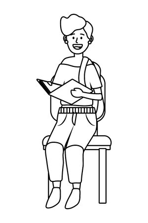 woman sitting on a chair avatar cartoon character black and white vector illustration graphic design