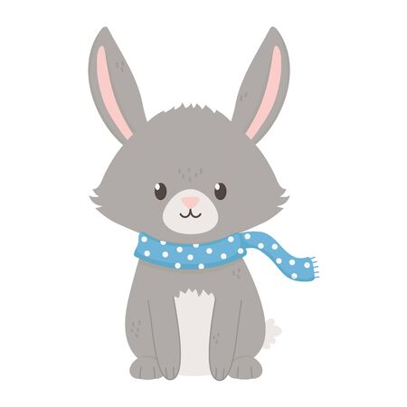 gray bunny with scarf autumn on white background vector illustration