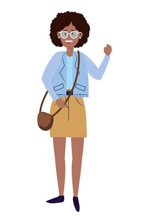 Young happy woman  on white Illusztráció