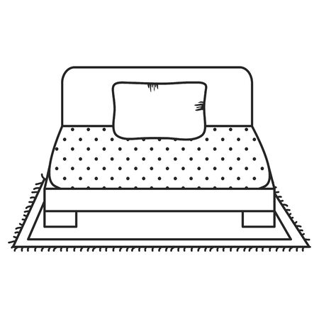 Bed of wooden furniture on white