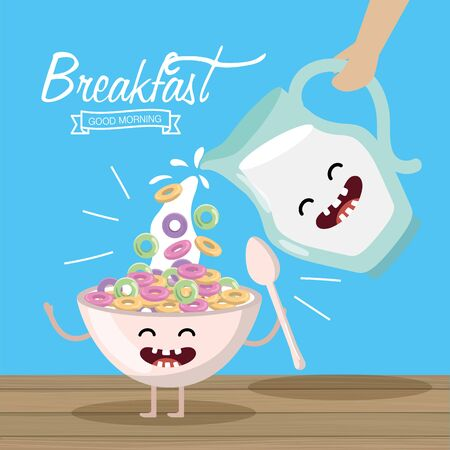 happy cereal with spoon and milk jar