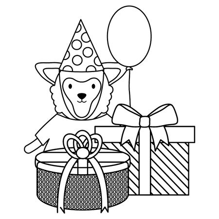 Lamb with gift box and balloon helium in birthday party